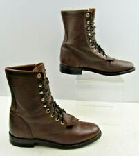 Ladies Justin Brown Leather Roper Lace Up Boots Size: 6.5 B