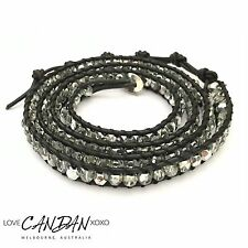 Smokey Wrap Black Leather 5 Wrap Sparkling Fire Polished Czech Crystals Bracelet