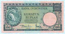 INDONESIA 100 Rupiah 1957 P51 AU Series 3 letters