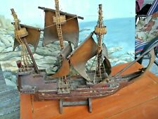 "Handmade 24"" Wooden ship model 3 Masted - impressive rope ladders 3 crows nests"
