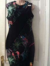 BLACK AND GREEN SLEEVELESS DRESS BY NEXT, SIZE 14