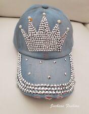Vintage Crown Bling Studded Light Wash Distressed Blue Jean Baseball Hat Cap