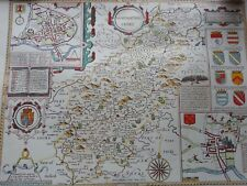 LARGE MAP OF NORTHAMPTONSHIRE IN 1610 COLOUR REPRODUCTION ANTIQUE STYLE UK