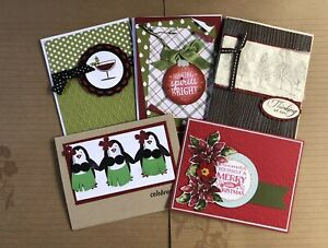 Set of 5 different handmade CHRISTMAS cards (Xmas spirit themed) With Envelopes