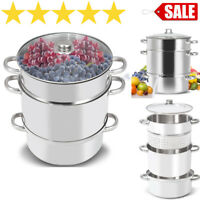 Deluxe Large Stainless Steel Steam Juicer Tempered Glass Lid Hose Clamp Fruit
