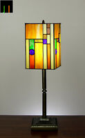 NEW JT Tiffany Lantern Stained Glass Bedside Side Table Desk Lamp Light