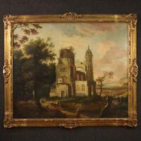 Dipinto antico quadro olio su tela paesaggio con cornice 700 XVIII secolo
