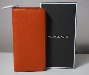 Michael Kors Men's Russel Leather Burnt Orange Tech Zip Around Wallet