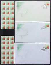 1998 STYLIZED MAPLE LEAF Canada 1696a + 1699a (2 ATM sheets) + 3 FDC < CV $105 >