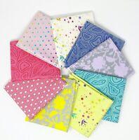 TULA PINK TRUE COLORS 9 pc  Rainbow Mini Fat Quarter Bundle FreeSpirit Fabric