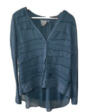 Anthropologie Vanessa Virginia Button Front Ruffle Top Long Sleeve XS Teal