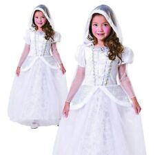 Girls Snow Queen Costume Kids Christmas Ice Princess Bride Frozen Fancy Dress