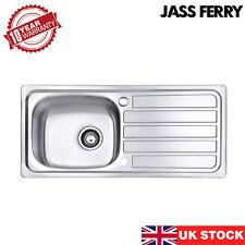 JASSFERRY New Stainless Steel Kitchen Sink 1 Bowl Reversible Drainboard