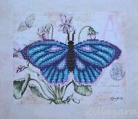Schmetterling Stickpackung Bild mit Perlen Stickset Stickvorlage Stickbild 27