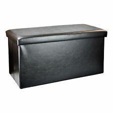 2 Seater Large Faux Leather Ottoman Seat Stool Folding Storage Box Pouffe Black