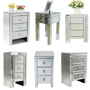 Sparking Mirrored Glass Bedside Cabinet Table Drawers Bedroom Storage Unit Table
