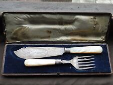 FISH SERVING SET, STERLING SILVER, LONDON 1884, ENGRAVED MOTHER OF PEARL HANDLE