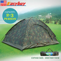 Outdoor 2-3 Person 4Season Camping Hiking Waterproof Layer Fold Tent Camouflage