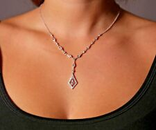 Sterling Silver White Cubic Zirconia Sparkling Drop Pendant Necklace Great Gift!