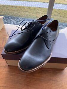 Johnston & Murphy Conard Plain Toe Dress Shoes Black Calfskin 10.5 M Oxford