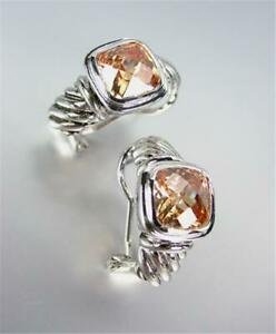 18kt White Gold Plated Cable Champagne Brown Topaz Crystal Omega Latch Earrings
