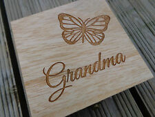 Grandma Engraved Wooden Box - Gorgeous GIFT - Etched Butterfly