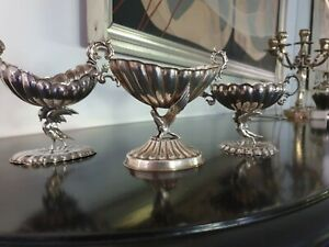 420g STERLING SILVER COLLECTION set of 3 SWANS CENTERS LOPEZ MUSEUM