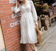 Vestido Maxi vestido de flores punta bordado embroidered Lace Long dress kimono S M