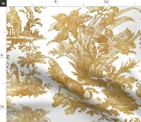 Toile Chinoiserie Asian Gold White Chinese Spoonflower Fabric by the Yard