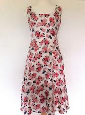 JIGSAW VINTAGE Style SILK Pink Floral Print 50s style DAY DRESS TEA DRESS Size 8