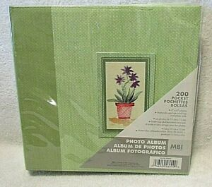 New 8x8 Photo Green Floral Picture Album holds 4x6 photos By MBI