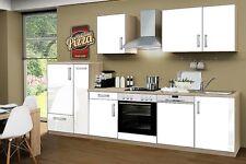 Küchenblock mit Glaskeramikkochfeld und Geschirrspüler 310 cm in weiß glänzend