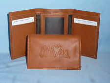 OLE MISS Mississippi REBELS   Leather TriFold Wallet    NEW    brown 2