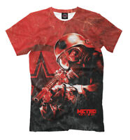 METRO 2033 red color tee - all over printed t-shirt gamer style clothing