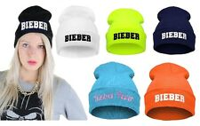 Knitted Beanie Winter Mens Womans Wooly Ski Turn Up Hat Fashion Designer BIEBER