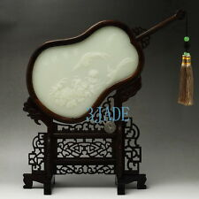 Natural Calcite/Afghanistan White Jade / Hard Wood Screen