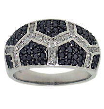 Right Hand Ring 14K Gold 1.00ct Round & Black Diamond
