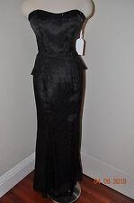 NWT Jessica Simpson Davids Bridal Long Strapless bead Dress Prom Fishtail Black