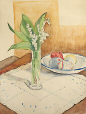 Antique watercolor painting still life with flowers and Easter eggs