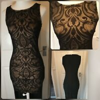 Lipsy Black Floral Lace Hi Lo Maxi Dress New With Tags RRP £55 size 10