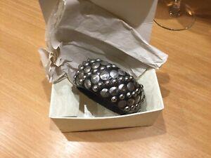 Black Wood Bangle With Silver Studs Chunky Bracelet Punk Rock Unused Gift BNIB