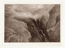 """WOW 1800s DAVID COX Antique Print """"Valley of the Waterfall, Carmarthenshire"""" COA"""