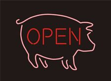"""New BBQ Open Pig Barbecue Beer Neon Sign 17""""x14"""" Ship From USA"""