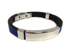 Thin Blue Line Rubber Silicone ID Bracelet with Secure Clasp Bracelet 8 Inches