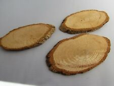 9.5cm Oval Wooden Disc Slices of Log for Rustic Weddings Packs of 2, 5 or 10