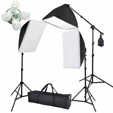 2875W Photography Photo Studio 4 Head Light Softbox Boom Arm Lighting Stand Kit