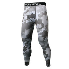 Take Five Mens Camo Skin Tight Compression Layer Running Pants Leggings NP541