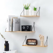 Wooden Iron Wall Mounted Storage Rack Hanging Bedroom Home Decor Display Shelves