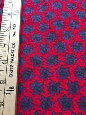 Fun Lightweight Cotton Corduroy with Purple & Green Flowers on a Red Background