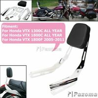 Chrome Rear Backrest Sissy Bar w/ Leather Pad For Honda VTX 1300C 1800C ALL YEAR